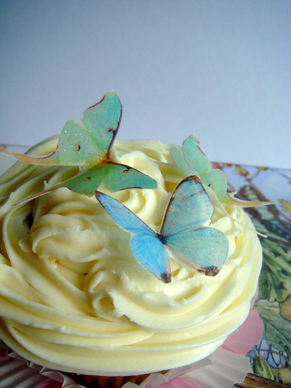 Edible Cupcake Toppers - Wafer Flowers - Glittery Edible Blue Butterflies and Luna Moths - Cupcake Toppers and Cake Decor