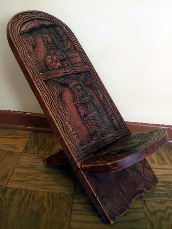 Africa African Wood Lazy Chair Ekurasi Hand Carved