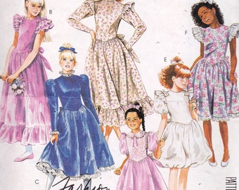 McCall's 3391 Girls' Dress and Attached Petticoat Pattern, UNCUT, Size 7, Party Dress, Wedding, Flower Girl