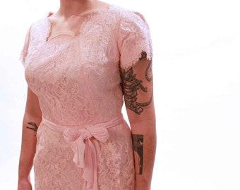1960s Pink Lace Wiggle Dress