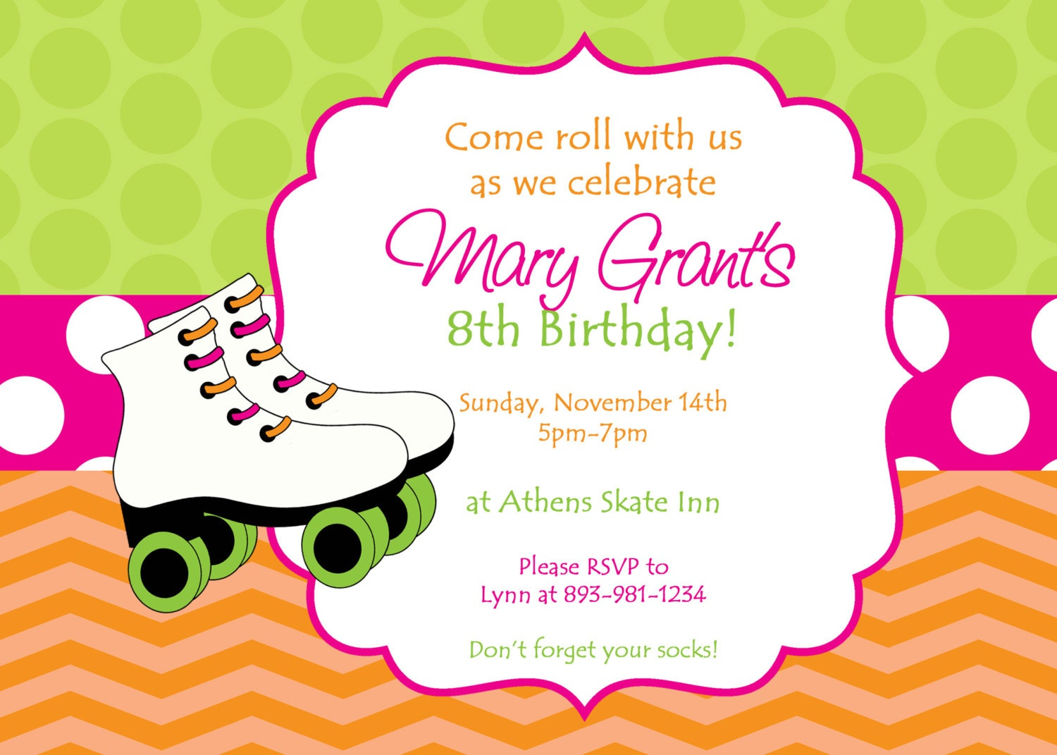 skating party invitation. colorful customized skate party, Party invitations