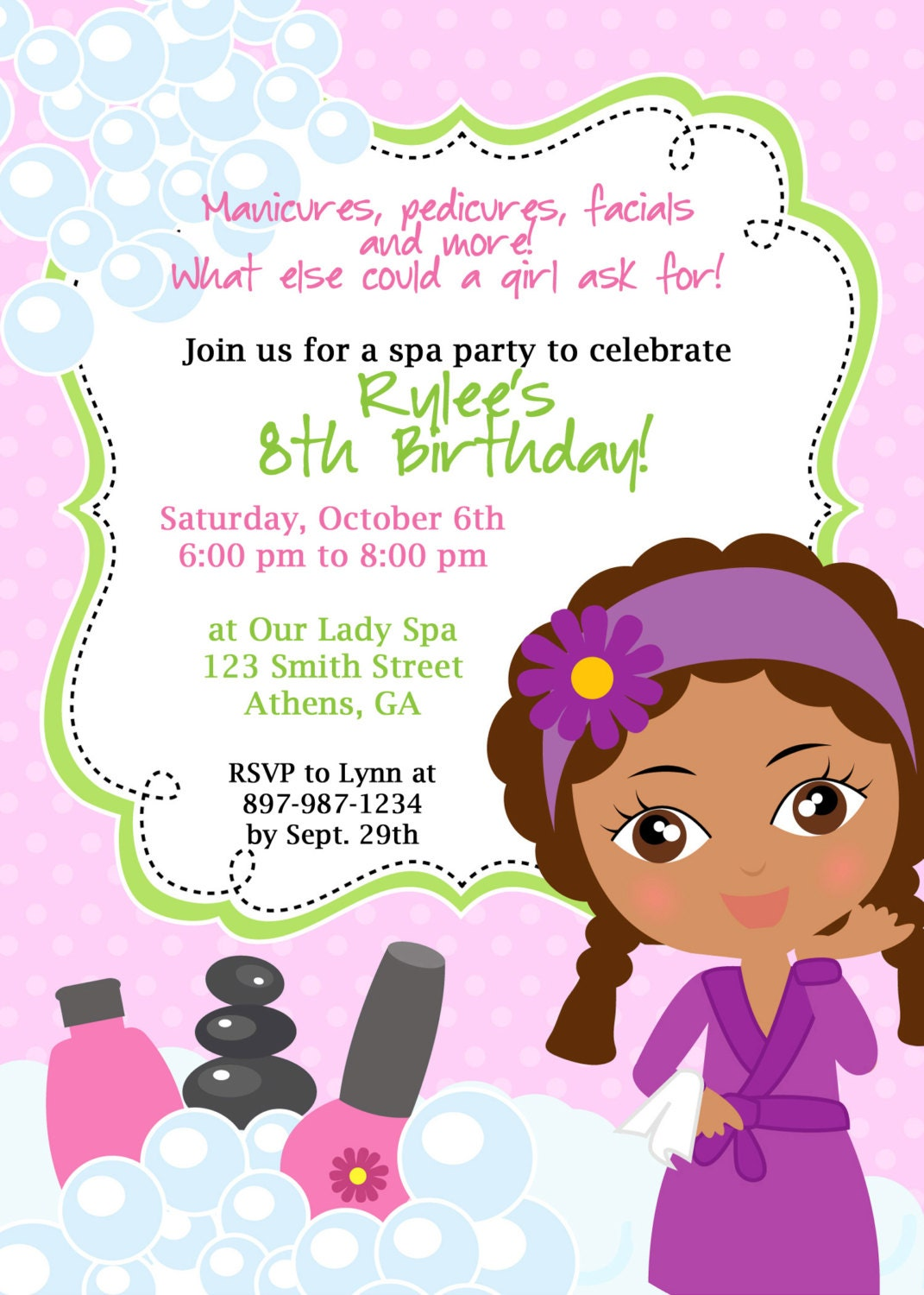 Little Girl Spa Birthday Party Invitations Quotes