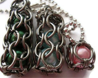 Large Chainmail wire wrapped caged beads necklace