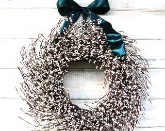 New Years Wreath-Winter Wreath-Winter Wedding- WHITE Berry Wreath-Wedding Decor-Cottage Chic Decor-Housewarming Gift-Holiday Home Decor
