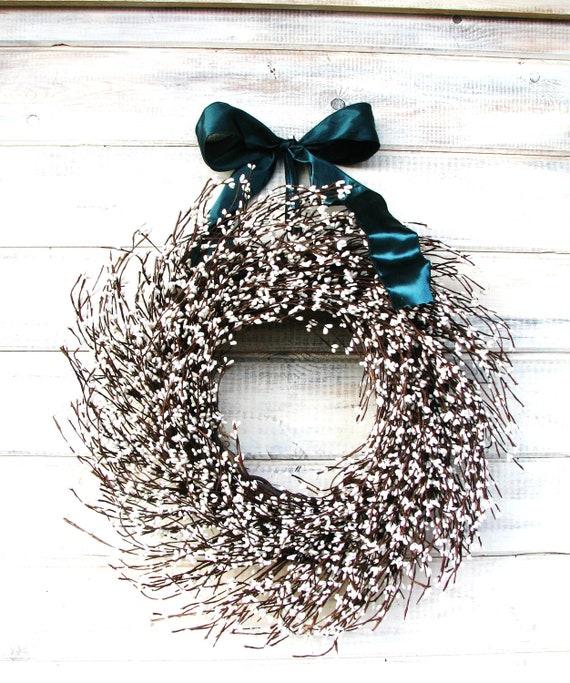 Winter Wreath-New Years Wreath-Spring Door Wreath-Winter Wedding- WHITE Berry Wreath-Wedding Decor-Cottage Chic Home Decor-Housewarming Gift