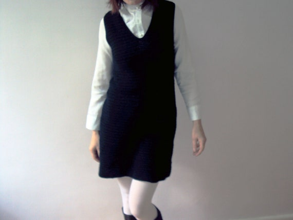 Handmade Vintage 60s Little Black Crochet Mod Hipster Dress Small
