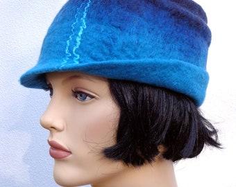 Retro hat blue felt cloche, 1920s inspired hat, art deco fashion, vintage inspired, winter hat, merino wool, cyber monday