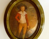 Vintage Italian Print - Renaissance Portrait of a Boy in Oval Frame