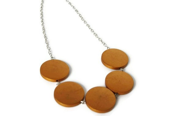 Golden Chunky Wood Necklace in Boho Style, Geometric Jewelry, Perfect Summer Fashion