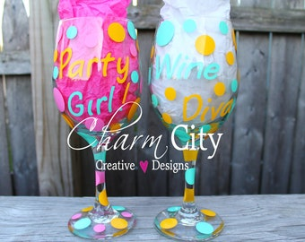 Personalized Wine Glasses 20 oz Birthday, holiday, party, gift,Bachleorette