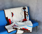 Vintage Southwestern Blanket Large Knitted Throw With Native American Symbol