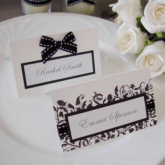 Items similar to modern black white wedding table decor for Table place cards