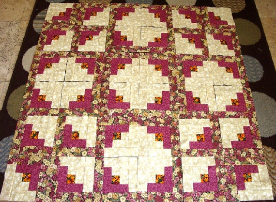 36 BURGUNDY LOG CABIN Quilt Top Fabric Blocks Squares Kit