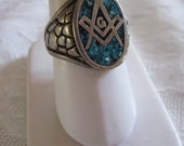 Vintage MASONIC Free Masons RING Real or Faux Turquoise Signed G&S 85 Size 10