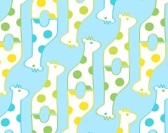 Savanna Bop Giraffes in Blue by Thomas Knauer for Andover Fabrics, 1 yard