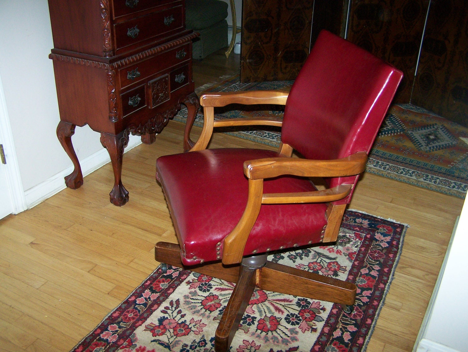 Vintage Red Leather Desk Chair Office Chair