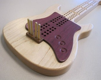 Electric Guitar Cribbage Board with Purpleheart Pickguard