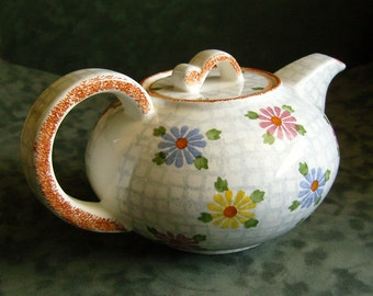 Vintage Pottery Teapot Multi-ColorDaisies Pre-War Germany Cottage Chic