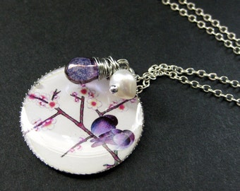 Purple Bird Necklace. Lovebirds Necklace with Purple Teardrop and Fresh Water Pearl. Handmade Jewelry.