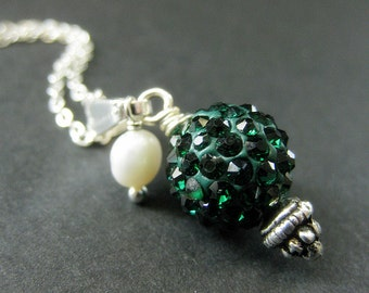 Dark Green Kissing Ball Necklace. Rhinestone Necklace with Fresh Water Pearl. Handmade Jewelry.