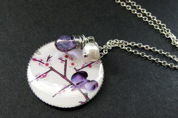 Purple Bird Necklace. Lovebirds Necklace with Purple Teardrop and Fresh Water Pearl. Handmade Jewelry.