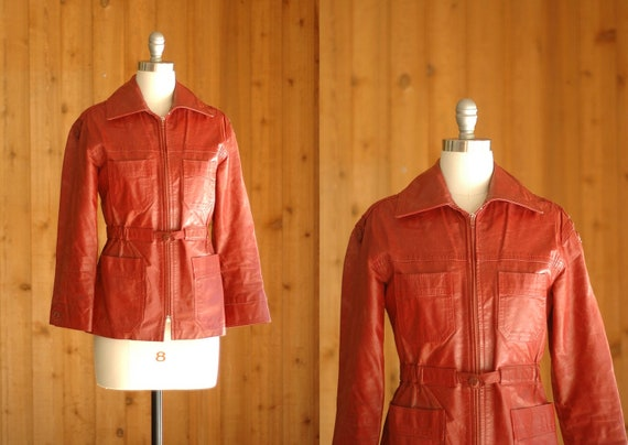 vintage leather jacket / whiskey brown fitted leather jacket / xs small