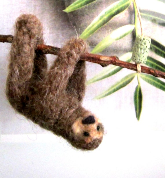 Sloth hanging ornament mobile needle felted plush miniature on a hemp cord