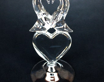 Penguin Heart Blown Glass Wedding Cake Top Topper