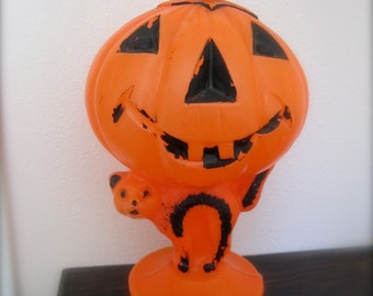 Pumpkin Blow Mold with scaredy cat jack o lantern vintage halloween