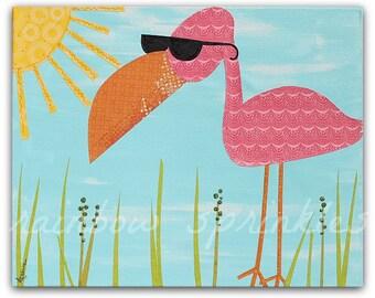 Children's Wall Art Print 8x10- flamingo, pink, sunshine, beach, Kids Art, Kids Room Art, Nursery Art, Nursery Room Decor, Beach Nursery