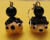 Hedgehog Lampwork Earrings
