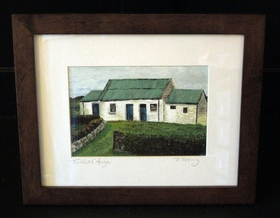 Framed Irish Print, is  a charming little cottage