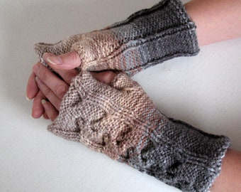 Fingerless Gloves  Beige Brown Gray White wrist warmers Knit