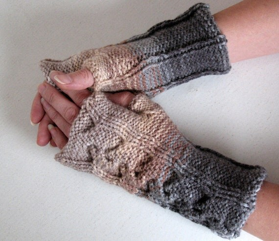 Fingerless Gloves  Beige Brown Gray White wrist warmers Knit