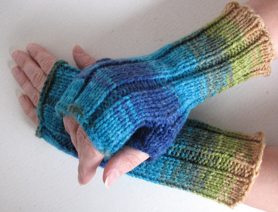 Fingerless Gloves Blue Turquoise Azure Beige Green, wrist warmers