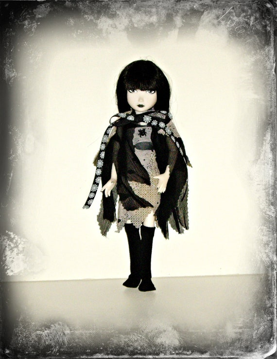 """Spooky, Holey, Ripped and Raggedy """"Little Tattered Girl"""" Goth Doll Clothes for Emily the Strange"""