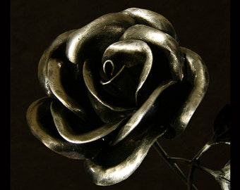 Delaforja Valentine Wrought Iron Pewter Rose with Three Leaves and Black Nickel Vase by Nyree L Smith