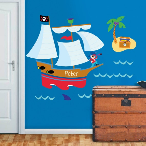 olive kids personalized jumbo pirate peel and stick wall mural
