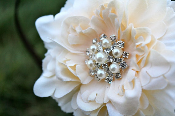 Wedding Flower Clip - Flower for Hair -  Small Peony Flower
