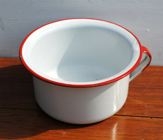 Vintage White with Red Rim Chamber Pot