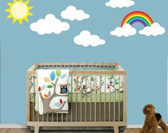 REUSABLE Clouds Sun Rainbow Wall Decal -  Childrens Sky Wall Decal - SK317