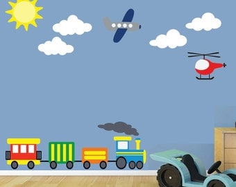 Airplane Train Wall Decal - REUSABLE Childrens Decals - B602WA
