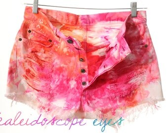 Vintage Levis 501 High Waist Colorful  MARBLED Dyed Denim Cut Off Shorts XL