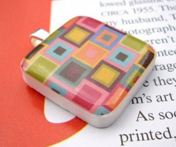 Colorful Abstract Squares Resin Pendant