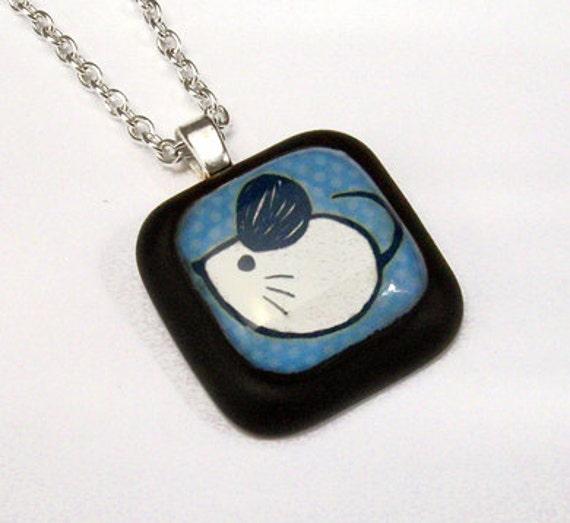 Little Mouse Blue Polka Dot Resin Pendant
