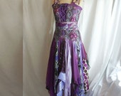 Bridesmaids Dress Romantic Tattered Purple Lilac Upcycled Woman's Clothing Funky Style Shabby Chic Eco Friendly Style Upcycled Clothig