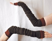 Creased Arm Warmers Dark Brown Upcycled Clothing Funky Long Arm Warmers Wrapped Wrists Cuffs Eco Tattered Style Woman's Clothing - cutrag
