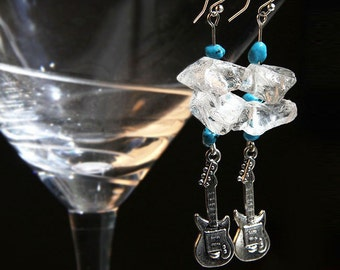 Electric Guitar Earrings/Necklace Rock Quartz Turquoise Birthstone Sterling Silver Rock & Roll Music Gift for Guitarist Musician Band Blues
