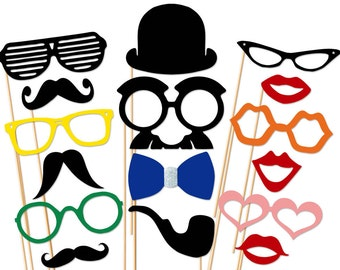 Geek Photo Booth Props - 16 Piece Wedding Party Props Set On a Stick