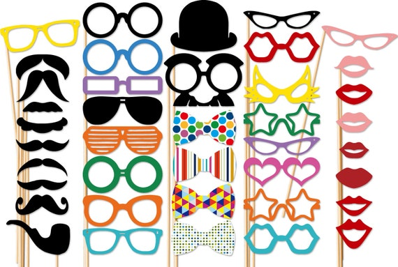 Photo Booth Props - 40 Piece Photobooth Party Set - Birthday - Weddings